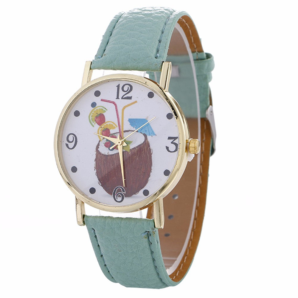 Women Chimes Pattern Quartz Watch Leather Straplt Table Watch