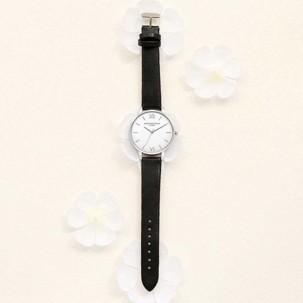 New Female Fashion Temperament Leather Belt With Simulated Quartz Round Watch - www.maboutiquefashion.com