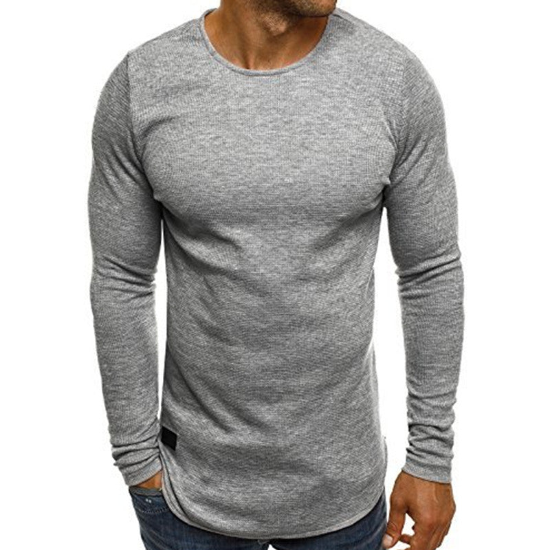INCERUN Men Long Sleeved Knitted T-shirt Bodybuilding Gyms Fitness Tracksuit Tee Tops Round Neck Crossfit T Shirt 2018 Spring