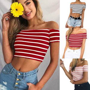 Women Ladies Off Shoulder Short Sleeve Striped Blouse Tops Clothes T Shirt