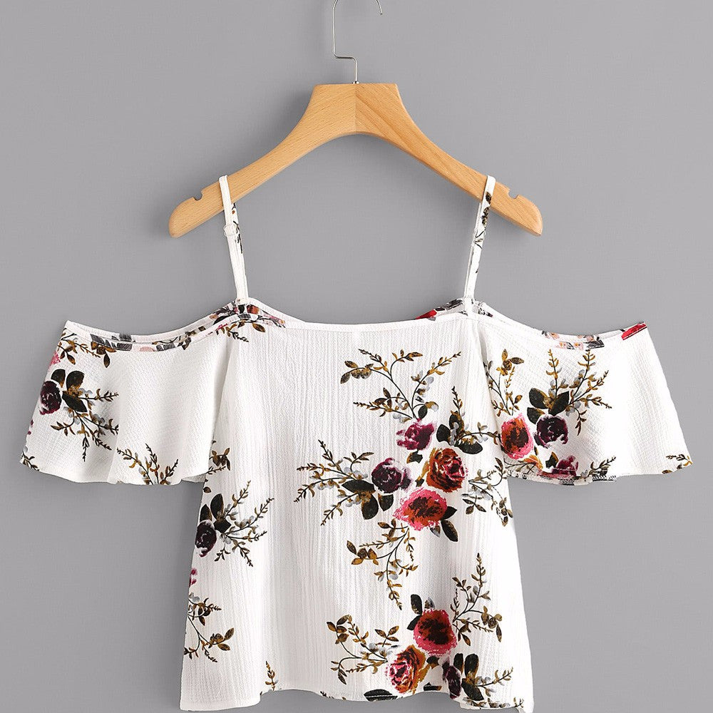 Women Summer Printed Blouse Cold Shoulder Top - www.maboutiquefashion.com