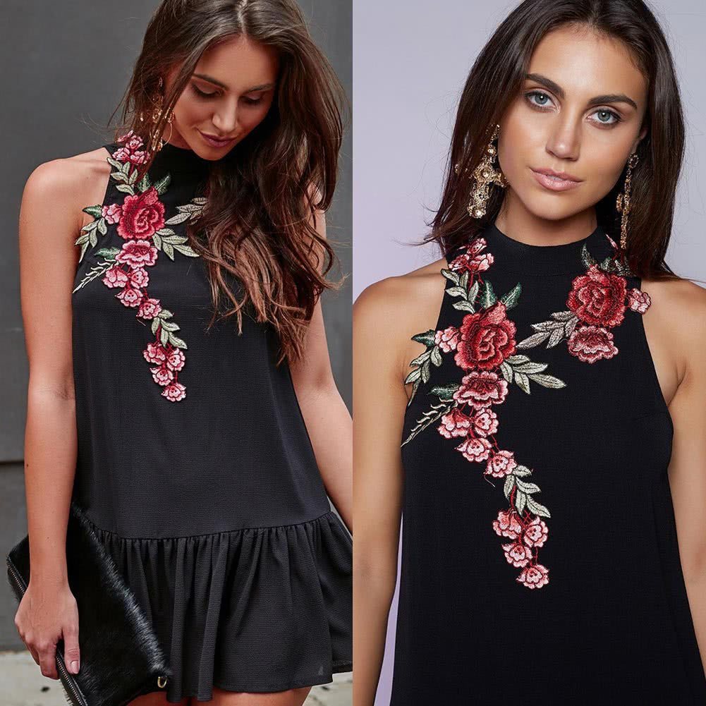 Sexy Women Dress Embroidery Stand Collar Sleeveless Backless Hollow Out Fold Hem Elegant Dress Black - www.maboutiquefashion.com
