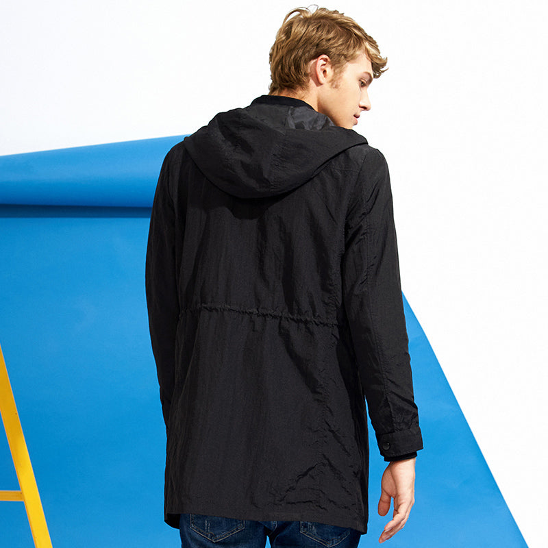 Pioneer Camp New black long tretch coat men famous brand thin spring 100% Nylon coat male AJK705297