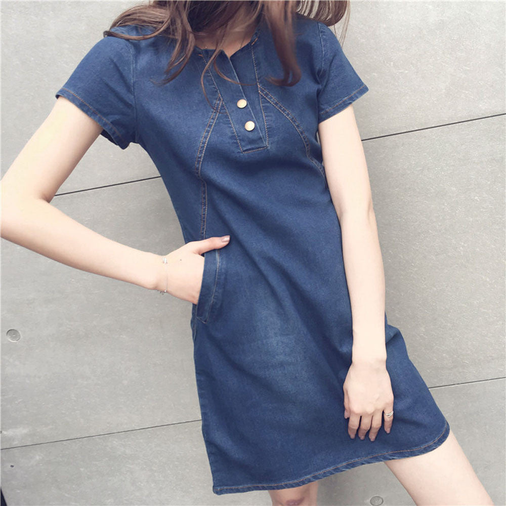 Women Plus Size Korean Casual Denim Ready Dinner Sexy Evening Dress Midi Dresses