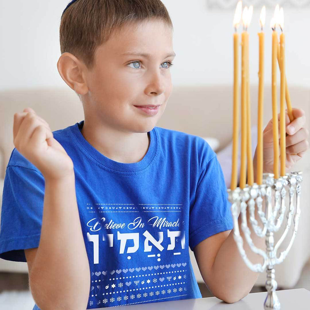 Believe In Miracles - Kids Hanukkah T Shirt-WearBU.com