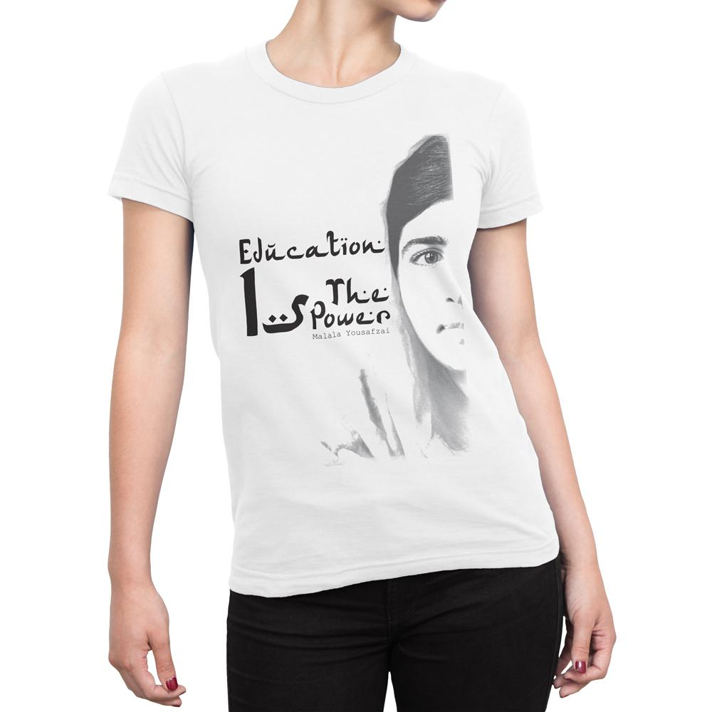 Education Is The Power - Women's Inspirational T Shirt-WearBU.com