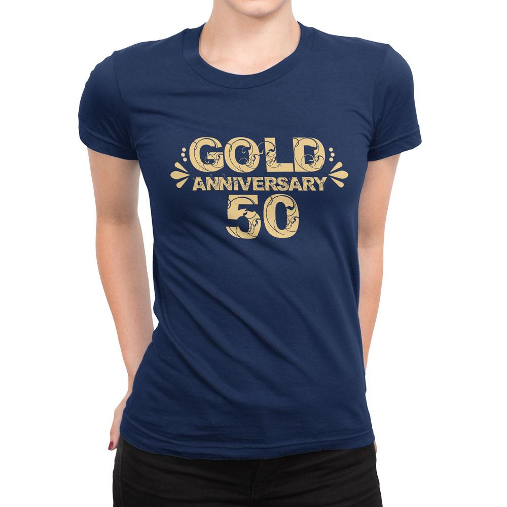 GOLD 50'TH ANNIVERSARY - Women's Anniversary T Shirt-WearBU.com