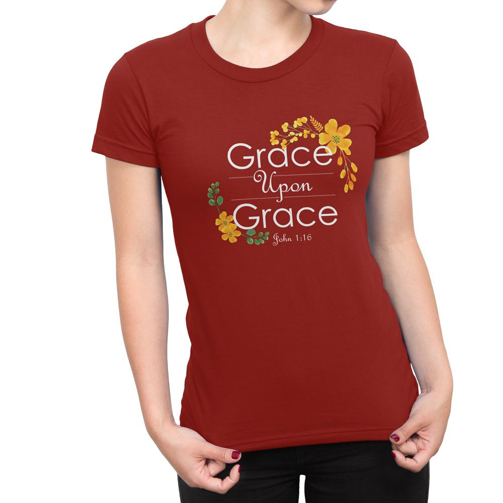 Grace Upon Grace - Women's Faith T Shirt-WearBU.com