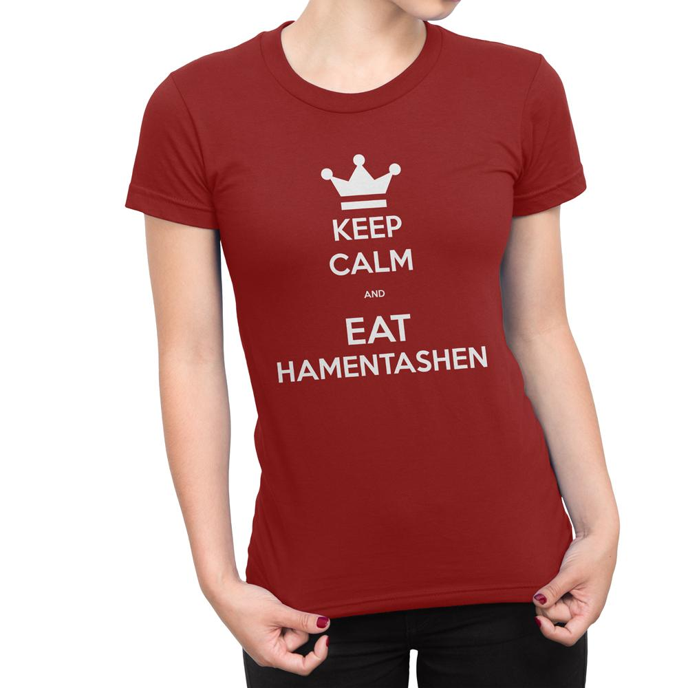 KEEP CALM & EAT HAMENTASHEN - Women's Purim Holiday T Shirt-WearBU.com