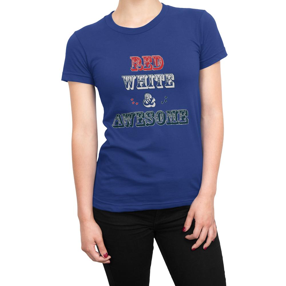 RED WHITE & AWESOME - Women's US Independence Day T Shirt-WearBU.com
