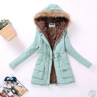Women Cotton Wadded Hooded Jacket Down Coat