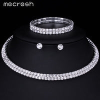 Mecresh Silver Circle Crystal Bridal Jewelry Set