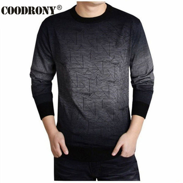 COODRONY Men's Casual Cashmere O-Neck Sweater