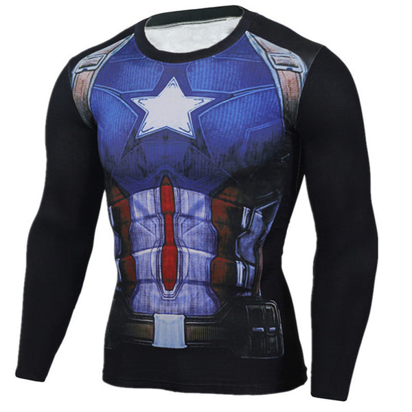 Men's Anime Bodybuilding Long Sleeve T-Shirts