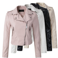 Women PU Leather Zipper Outerwear Jacket