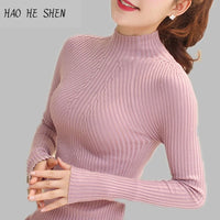 Women Solid Turtleneck Slim Tight Sweaters