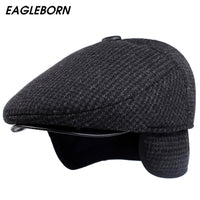 EAGLEBORN Men's Cotton Plaid Beret Caps