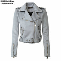 Women Suede Faux Leather Outwear Jacket