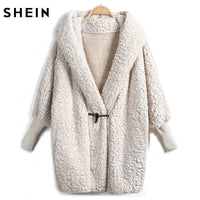 SHEIN Women Apricot Batwing Long Sleeve Trench Coat