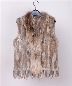 Women Genuine Knitted Rabbit Fur Coat
