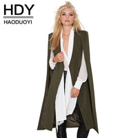 HDY Haoduoyi Women Casual Longline Trench Coat