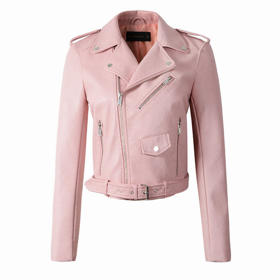 Women Belt Outerwear Faux Leather Jacket