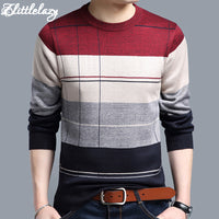 Men's casual crocheted striped pullover sweaters