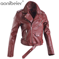 Aonibeier Women Slim Fit PU Leather Jacket