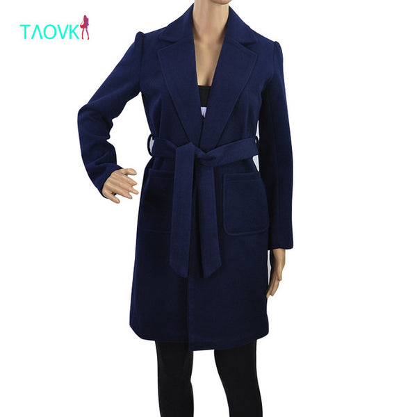 TAOVK Women's Woolen Long Sleeve Trench Coat
