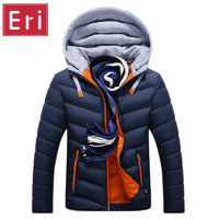 Men's Cotton-Padded Collar Slim Hooded Coats/Jackets