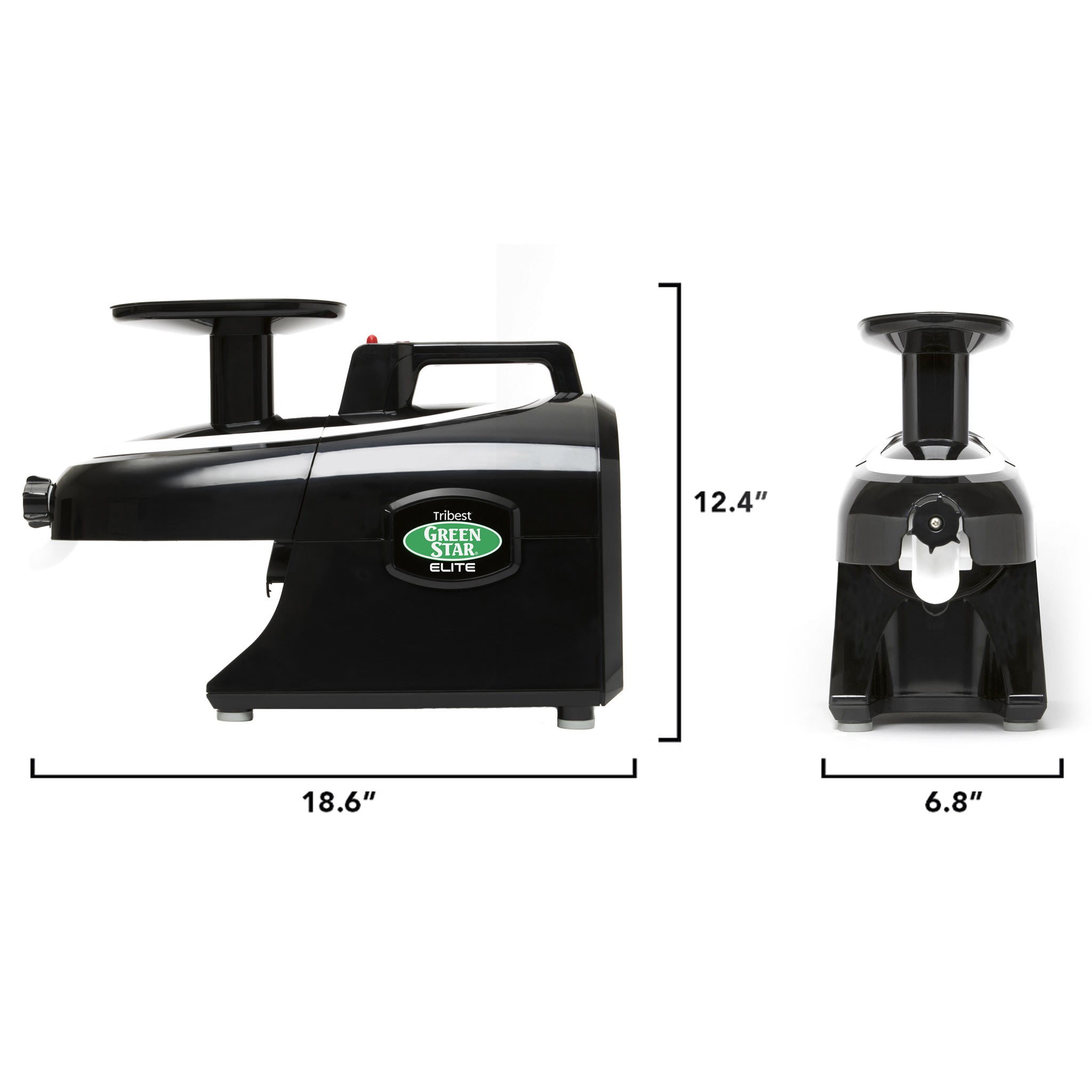 "Greenstar® Elite Jumbo Twin Gear Slow Masticating Juicer in Black GSE-5010-B - Size 18.6"" W x 6.8"" D x 12.4"" H - Tribest"