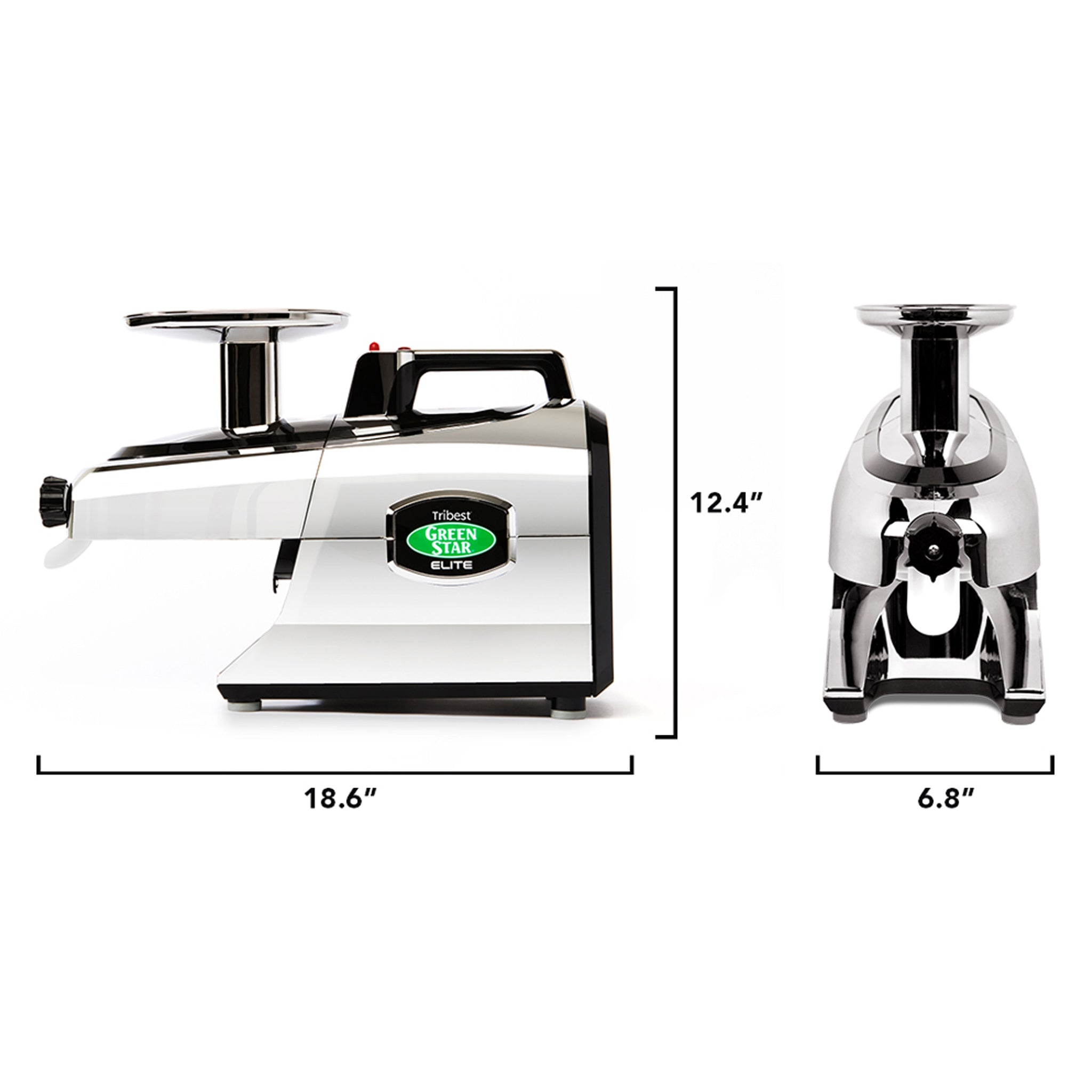 Greenstar® Elite Jumbo Twin Gear Slow Masticating Juicer in Chrome GSE-5050-B - Size 18.6