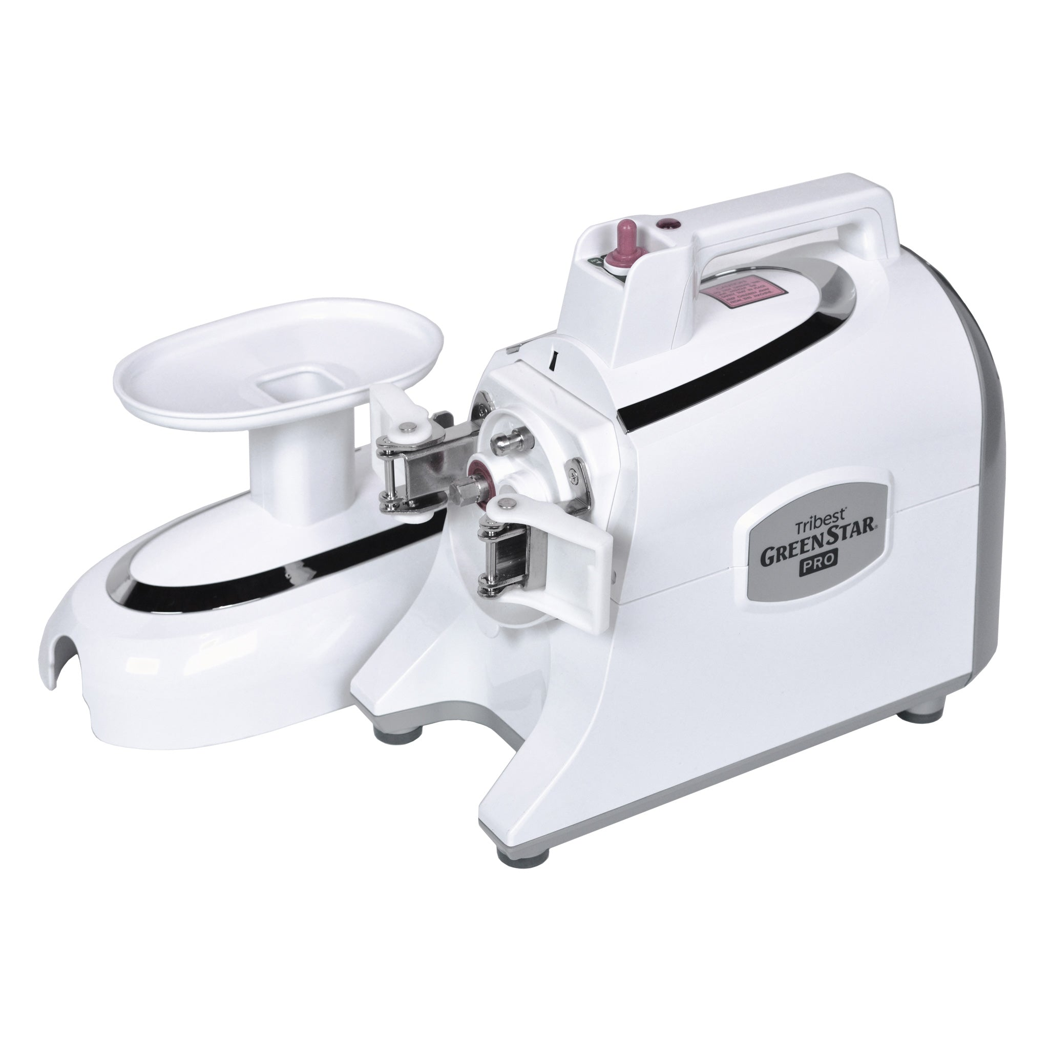 Greenstar® Pro Twin Gear Commercial Slow Juicer in White GS-P501-B - Hood Off - Tribest