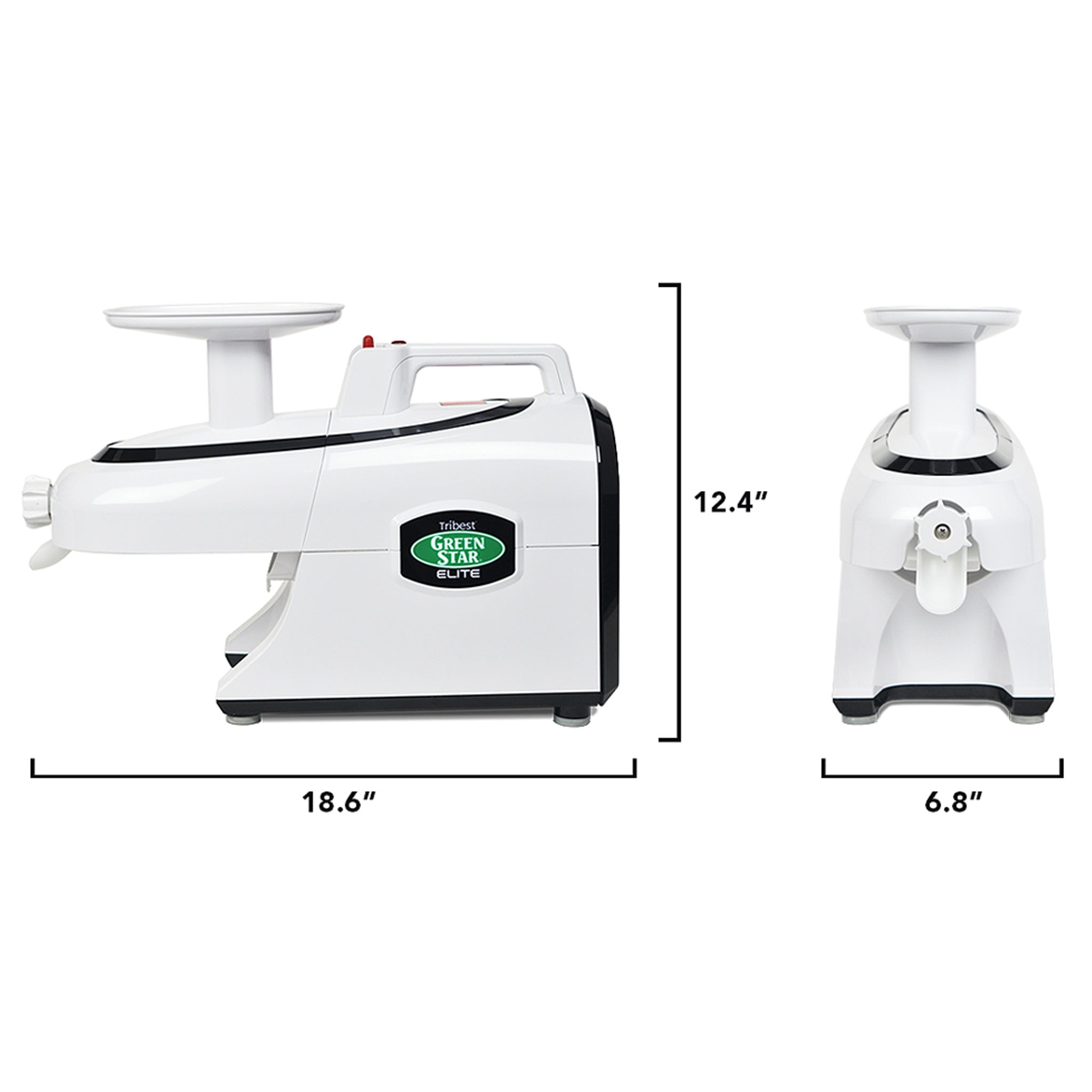 "Greenstar® Elite Jumbo Twin Gear Slow Masticating Juicer in White GSE-5000-B - Size 18.6"" W x 6.8"" D x 12.4"" H - Tribest"