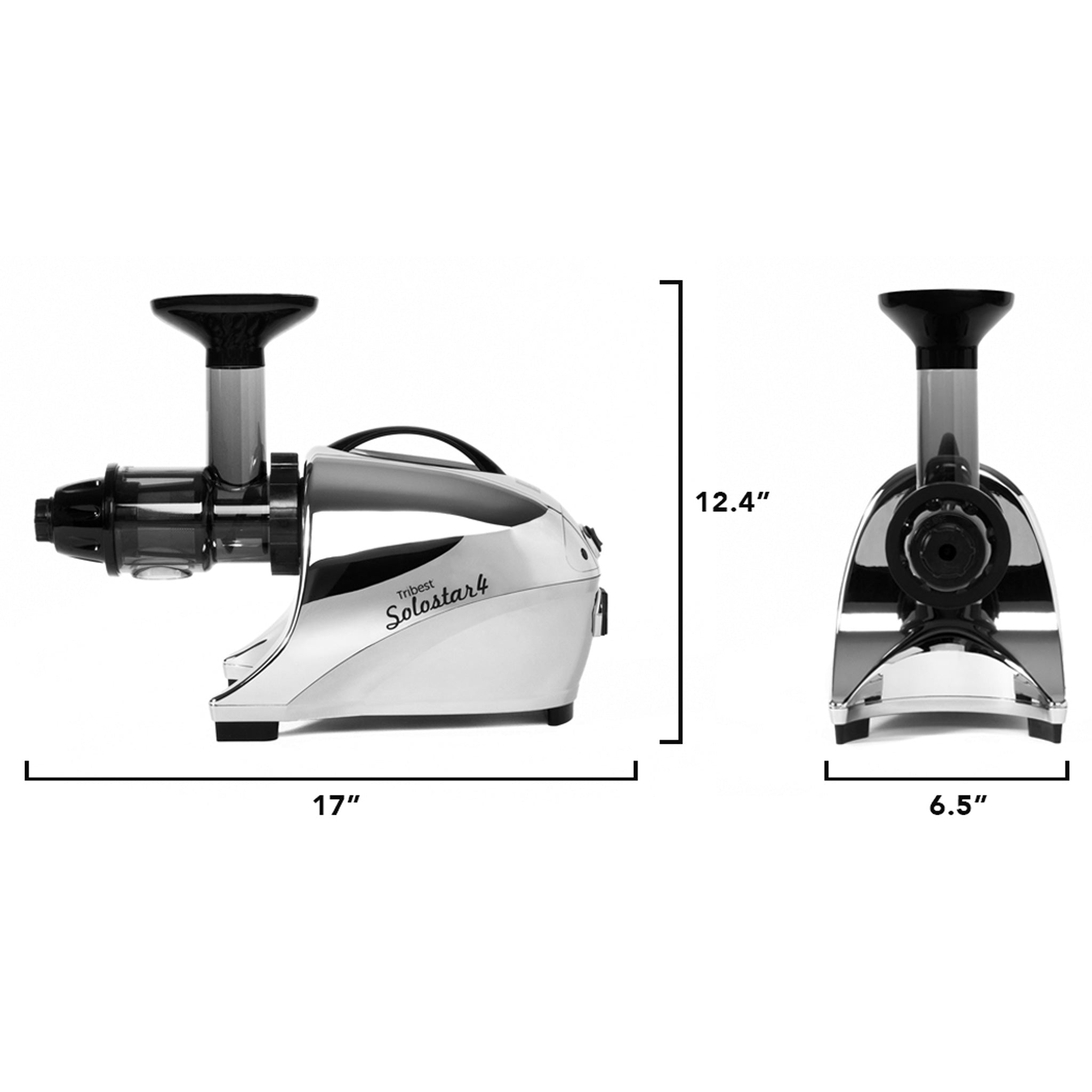 "Solostar® 4 Horizontal Slow Masticating Juicer in Chome SS4-4250-B - Size 17"" W x 6.5"" D x 12.4"" H - Tribest"