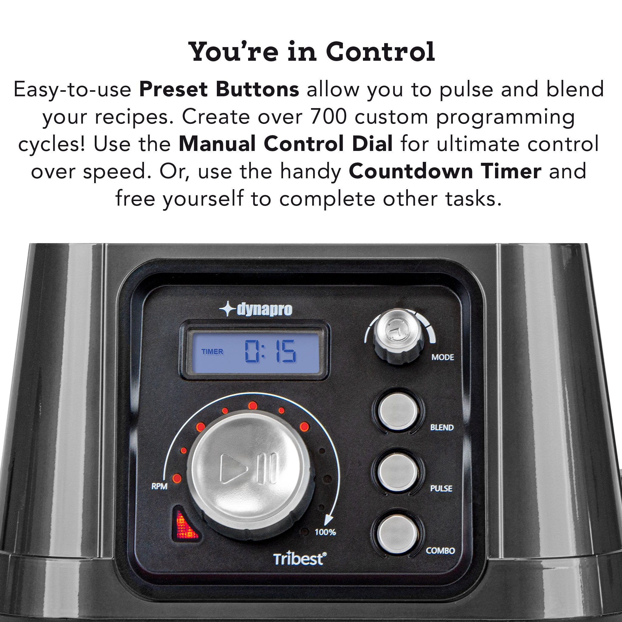 Dynapro® Commercial High-Speed Blender in Gray - Preset Controls