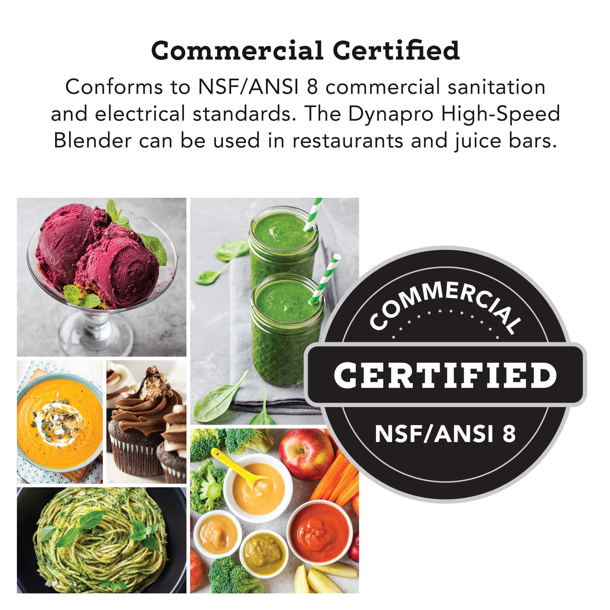 Dynapro® Commercial High-Speed Blender in Gray - Commercial Certified NSF/ANSI 8