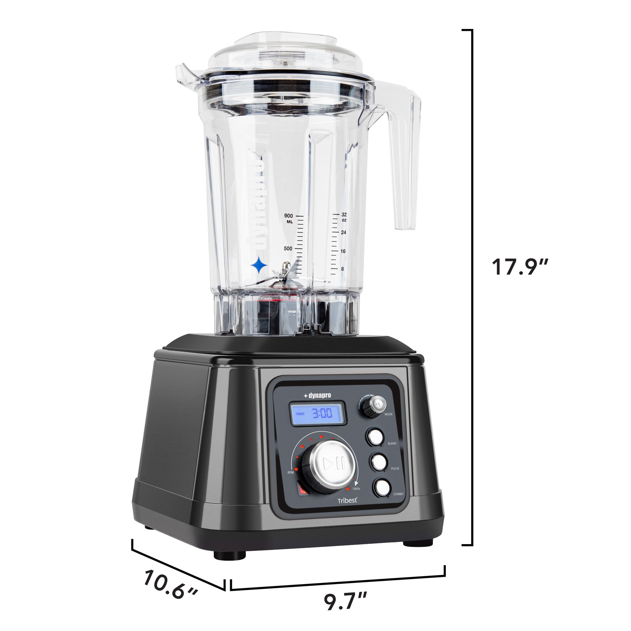 "Dynapro® Commercial High-Speed Blender in Gray - 10.6"" x 9.7"" x 17.9"""