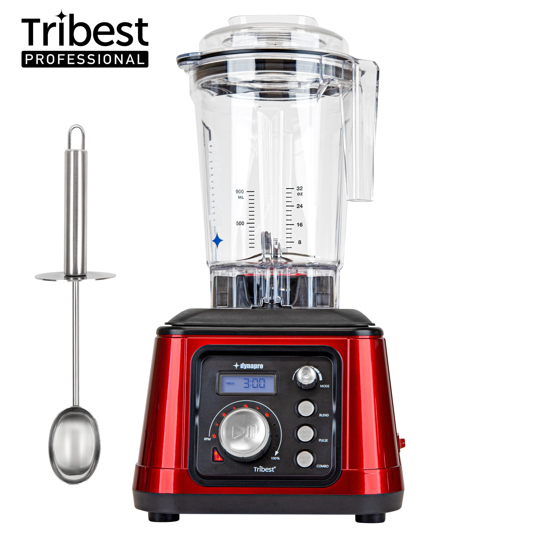 Dynapro® Commercial High-Speed Blender in Red with stainless steel scoop