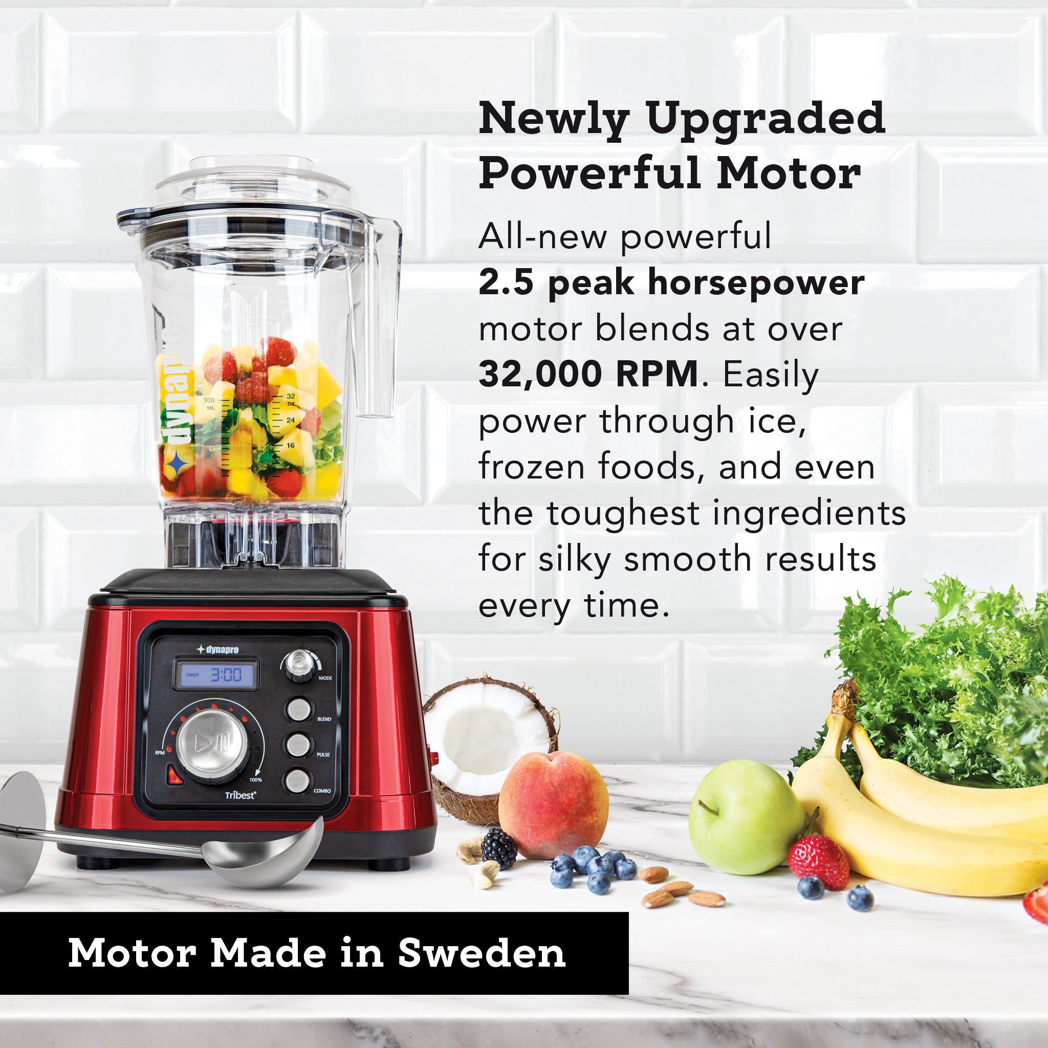 Dynapro® Commercial High-Speed Blender in Red - Motor made in Sweden