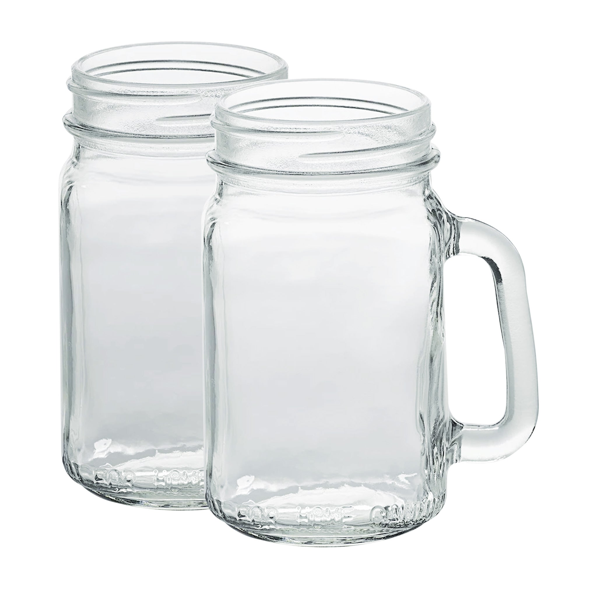 Glass Drinking Mugs, 2-Pack (16 oz)