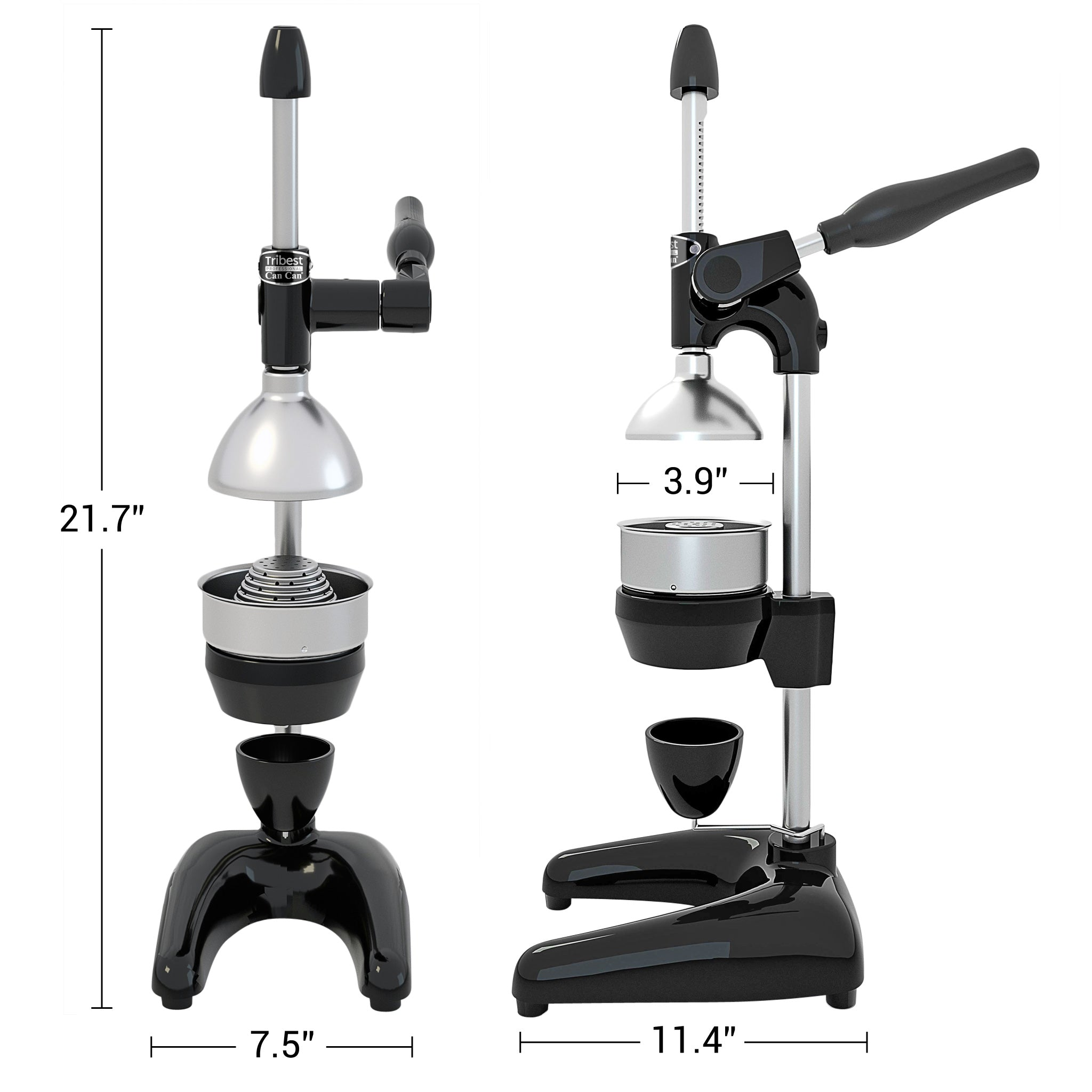 "Tribest Professional Cancan Manual Juice Press MJP-100 in Black 21.7"" x 7.5"" x 11.4"""