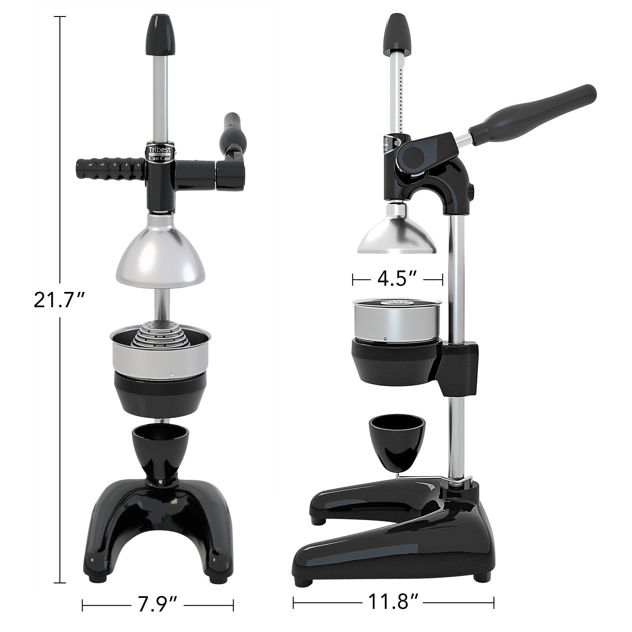 "Tribest Professional Cancan Manual Pomegranate Juice Press MJP-105 in Black. 21.7"" x 7.9"" x 11.8"""