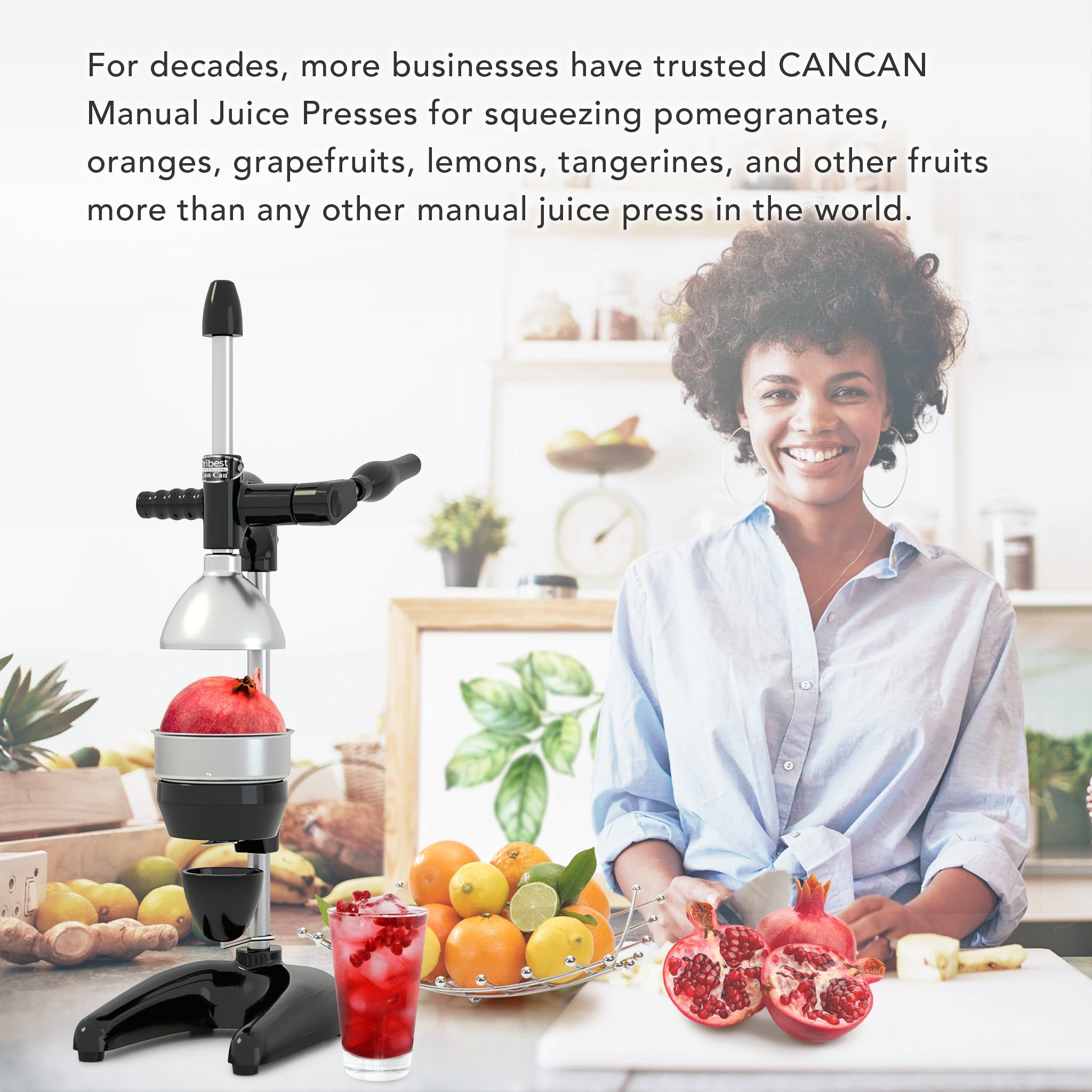 Tribest Professional Cancan Manual Pomegranate Juice Press MJP-105 in Black.