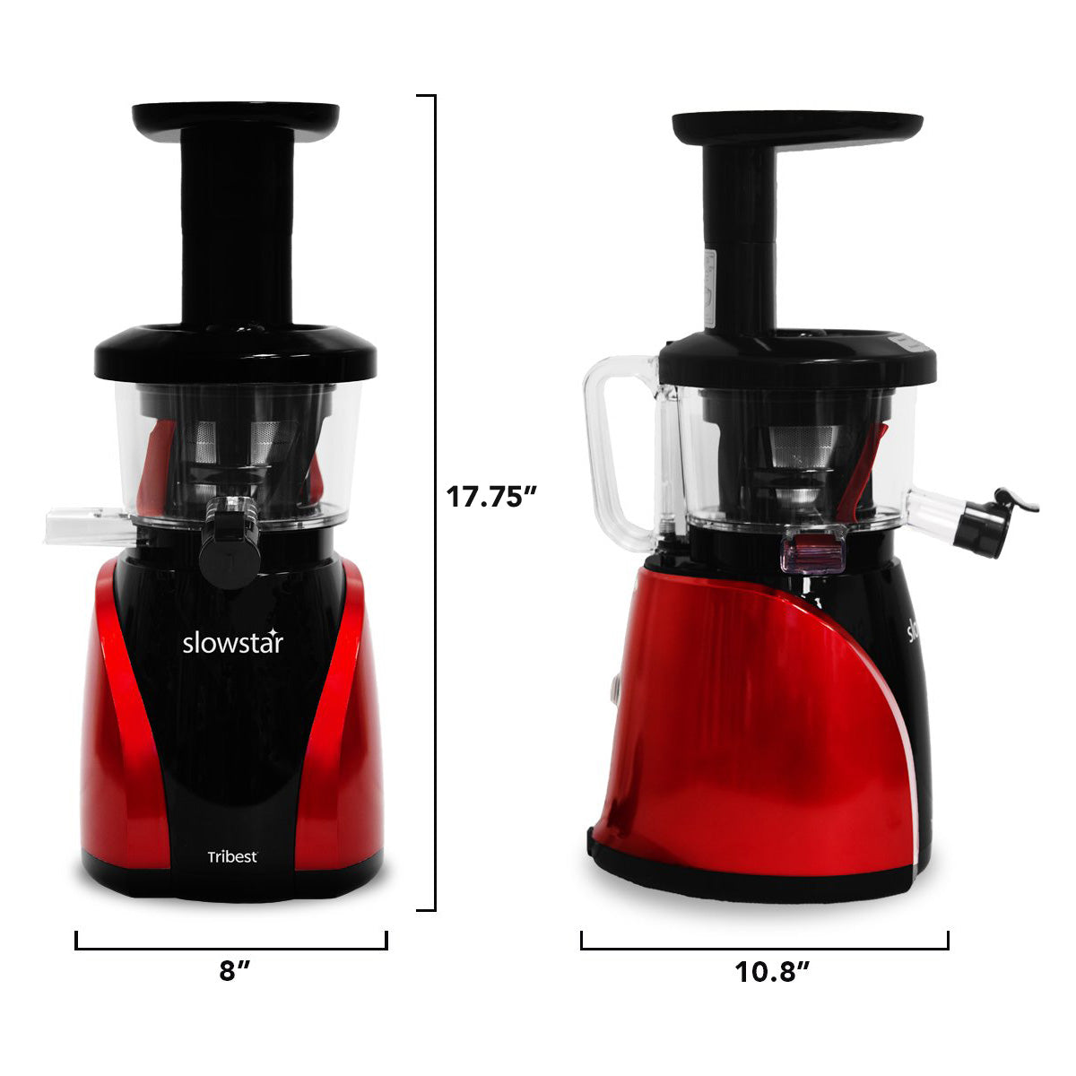 "Slowstar Vertical Slow Juicer & Mincer in Red SW-2000-B - Size 8"" W x 10.8"" D x 17.75"" H - Tribest"