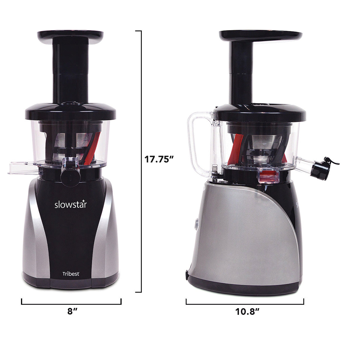"Slowstar Vertical Slow Juicer & Mincer in Silver SW-2020-B - Size 8"" W x 10.8"" D x 17.75"" H - Tribest"