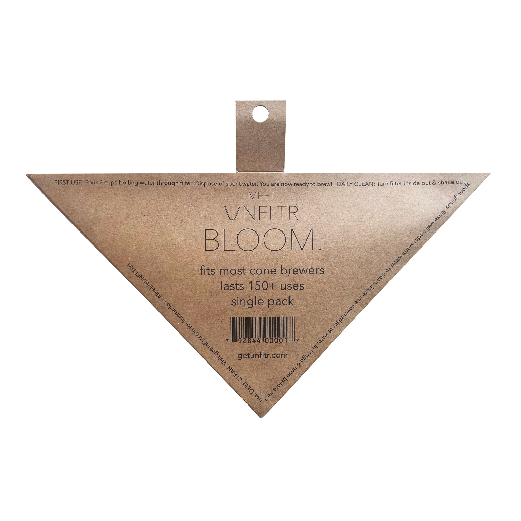 UNFLTR® Bloom Reusable Universal Hemp Cone Coffee Filter - Back Packaging