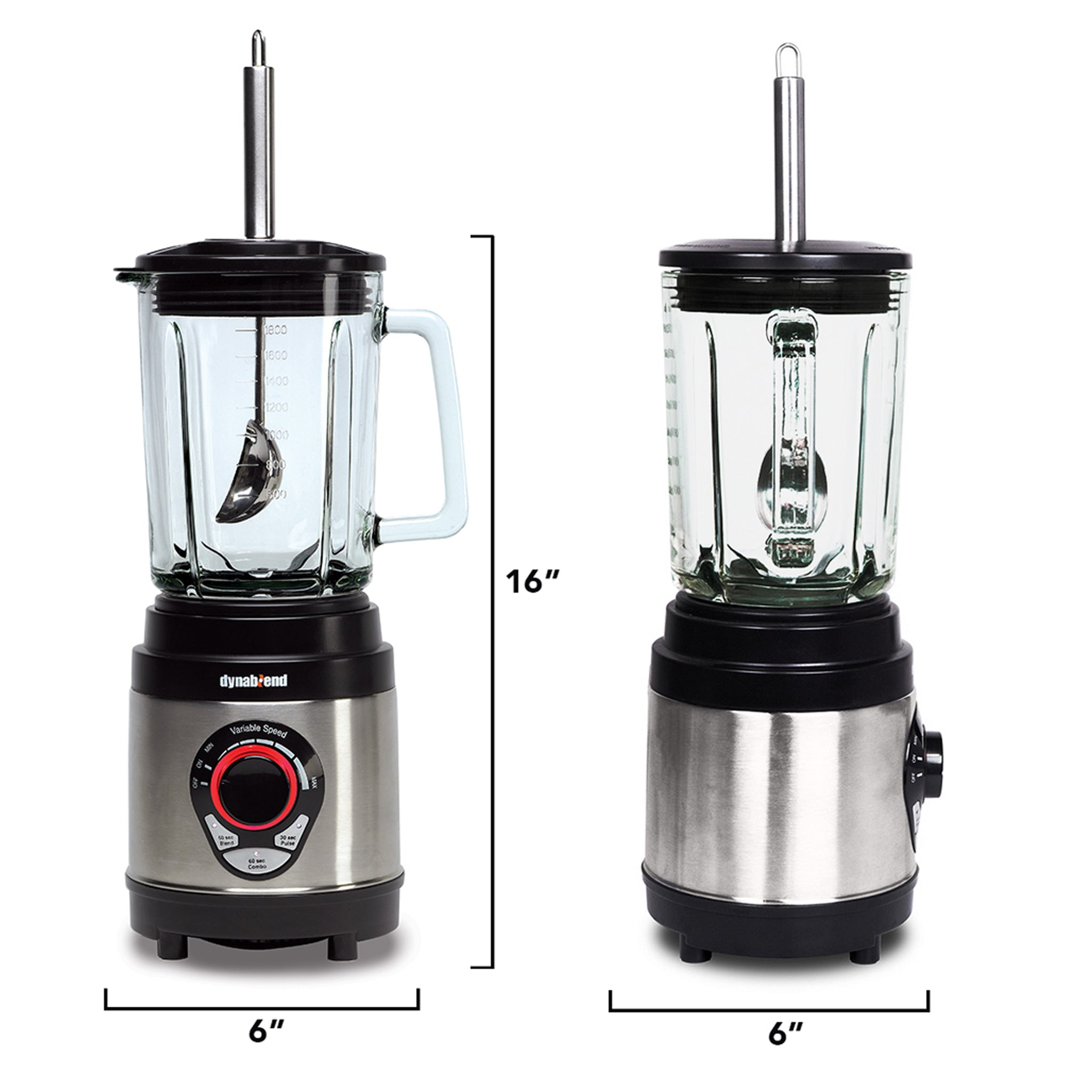 "Dynablend Clean High-Power Home Blender DB-950-A - Measurements 6"" W x 6"" D x 16"" H - Tribest"