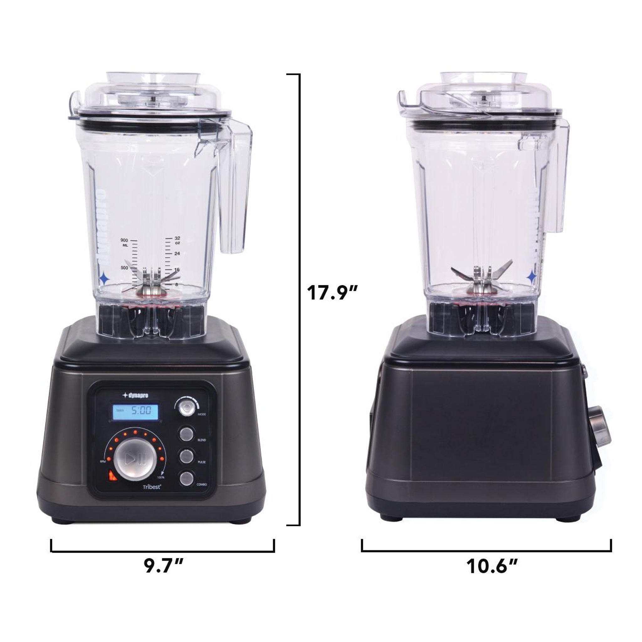 "Dynapro Commercial Vacuum Blender DPS-1050A-B - Measurements 9.7"" W x 10.6"" D x 17.9"" H - Tribest"