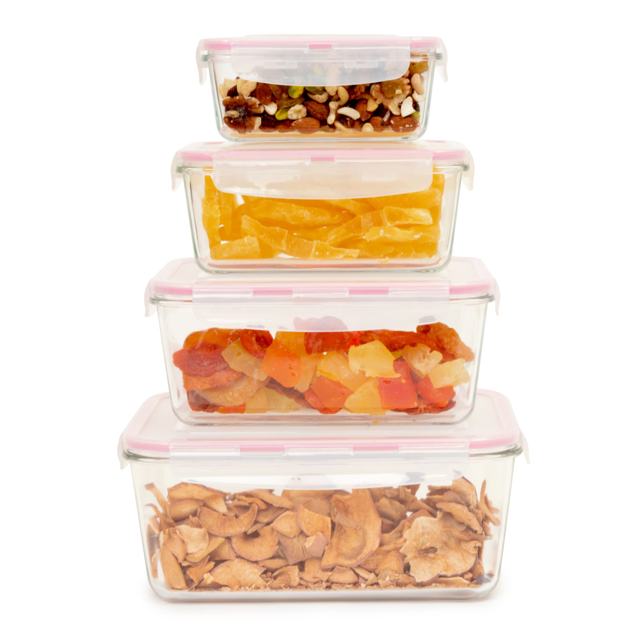 GlasLife® 4-Piece Air-Tight Glass Containers - Rectangular